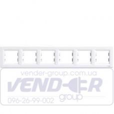 Рамка 6 постовая горизонтальная белая SCHNEIDER ASFORA