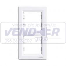 Рамка 2 постовая вертикальная белая SCHNEIDER ASFORA