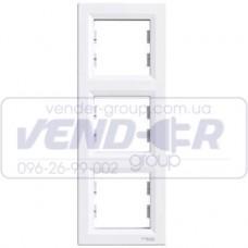 Рамка 3 постовая вертикальная белая SCHNEIDER ASFORA